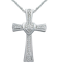 Precious Moments® .10 ct. t.w. Diamond and Sterling Silver Cross with Heart Pendant