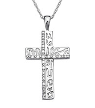 Precious Moments® .10 ct. t.w. Diamond and Sterling Silver Etched Cross Pendant