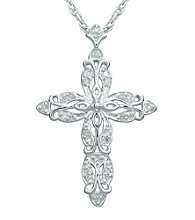 Precious Moments® .15 ct. t.w. Diamond and Sterling Silver Cross Pendant