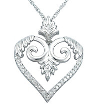 Precious Moments® .15 ct. t.w. Diamond and Sterling Silver Heart Leaf Pendant
