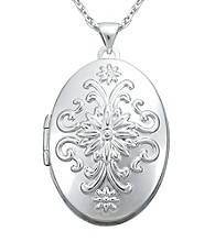 Precious Moments® Sterling Silver Scroll Locket Pendant