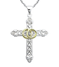 Precious Moments® .02 ct. t.w. Diamond and Sterling Silver Two-Tone Cross Pendant
