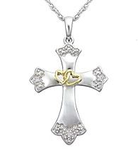 Precious Moments® .06 ct. t.w. Diamond and Sterling Silver Two-Tone Hearts Cross Pendant