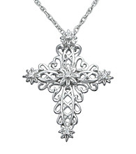 Precious Moments® .025 ct. t.w. Diamond and Sterling Silver Scrolling Cross Pendant