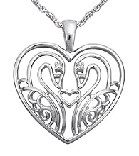 Precious Moments® .01 ct. t.w. Diamond and Sterling Silver Swan Heart Pendant