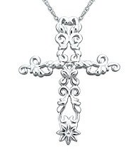 Precious Moments® .005 ct. t.w. Diamond and Sterling Silver Scrolling Cross Pendant