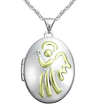 Precious Moments® .005 ct. t.w. Diamond and Sterling Silver Two-Tone Angel Locket Pendant
