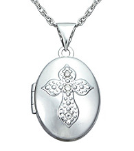 Precious Moments® .02 ct. t.w. Diamond and Sterling Silver Cross Locket Pendant