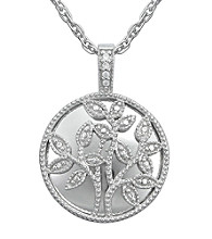 Precious Moments® .02 ct. t.w. Diamond and Sterling Silver Family Tree Pendant
