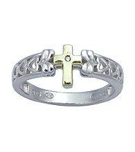 Precious Moments® .005 ct. t.w. Diamond and Sterling Silver Two-Tone Cross Ring