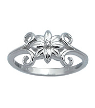Precious Moments® .005 ct. t.w. Diamond and Sterling Silver Flower Ring