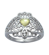 Precious Moments® .01 ct. t.w. Diamond and Sterling Silver Two-Tone Heart Ring