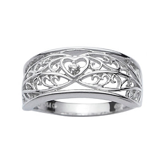 Precious Moments® .005 ct. t.w. Diamond and Sterling Silver Cutout Ring