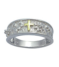 Precious Moments® .01 ct. t.w. Diamond and Sterling Silver Two-Tone Band Cross Ring