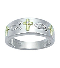 Precious Moments® .005 ct. t.w. Diamond and Sterling Silver Religious Cross Ring