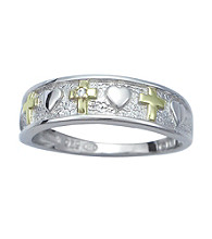 Precious Moments® .005 ct. t.w. Diamond and Sterling Silver Crosses with Hearts Ring
