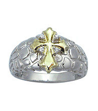 Precious Moments® .03 ct. t.w. Diamond and Sterling Silver Two-Tone Textured Cross Ring