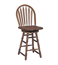 International Concepts Windsor Arrowback Medium Oak Wood Swivel Stool