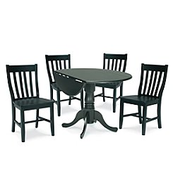 International Concepts 5-pc. Black Wood Dual Drop Leaf Dining Set