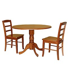 International Concepts 3-pc. Dining Set with  Dual Drop Leaf Table and Madrid Chairs