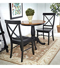 International Concepts Black & Cherry 3-pc. Round Dining Set with X-Back Chairs