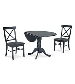 International Concepts 3-pc. Black Dual Drop Leaf Dining Set