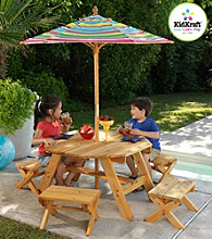 KidKraft Outdoor Octagon Table with 4 Stools and Striped Umbrella
