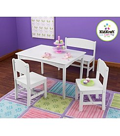 KidKraft Nantucket White Table with Bench & 2 Chairs