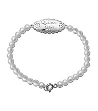 Precious Moments® .01 ct. t.w. Diamond and Sterling Silver Pearl Bracelet