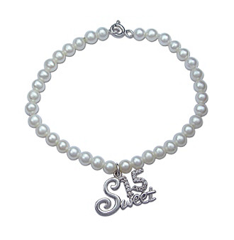 "Precious Moments® .01 ct. t.w. Diamond and Sterling Silver ""Sweet 15"" Pearl Bracelet"