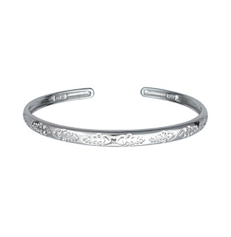 Precious Moments® .005 ct. t.w. Diamond and Sterling Silver Floral Bangle Bracelet