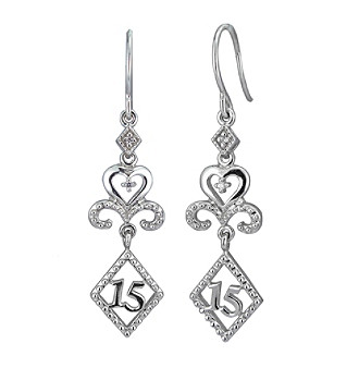 ".02 ct. t.w. Diamond and Sterling Silver ""15"" Drop Earrings"