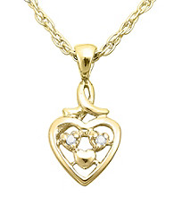 Precious Moments® .01 ct. t.w. Diamond and Goldtone Sterling Silver Heart Pendant