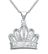 Precious Moments® .015 ct. t.w. Diamond and Sterling Silver Tiara Pendant