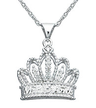 Precious Moments® .06 ct. t.w. Diamond and Sterling Silver Tiara Pendant