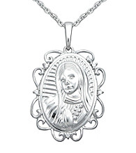 Precious Moments® .005 ct. t.w. Diamond and Sterling Silver Virgin Mary Pendant