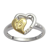 Precious Moments® .015 ct. t.w. Diamond and Two-Tone Sterling Silver