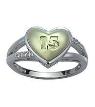 Diamond Accent and Two-Tone Sterling Silver Heart