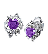 Precious Moments Sterling Silver Birthstone Collection Heart Shaped Earrings