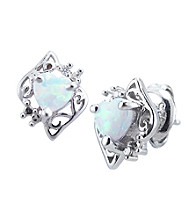 Precious Moments Sterling Silver Birthstone Collection Heart Shape Earrings- Created Opal