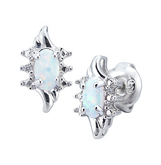 Precious Moments Sterling Silver Birthstone Collection Earrings- Created Opal