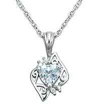 Precious Moments Sterling Silver Birthstone Collection Heart Shape Pendant/Aquamarine