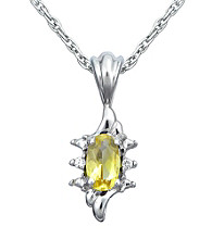 Precious Moments Sterling Silver Birthstone Collection Pendant- Citrine
