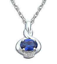 Precious Moments Sterling Silver Birthstone Collection Pendant- Created Sapphire