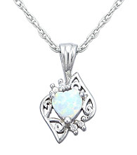 Precious Moments Sterling Silver Birthstone Collection Heart Shape Pendant- Created Opal