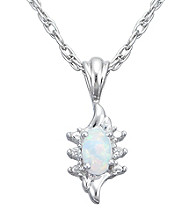 Precious Moments Sterling Silver Birthstone Collection Pendant- Created Opal