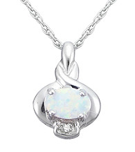 Precious Moments Sterling Silver Birthstone Collection Pendant/Created Opal