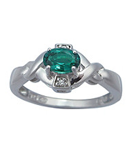 Precious Moments Sterling Silver Birthstone Collection Ring- Created Emerald