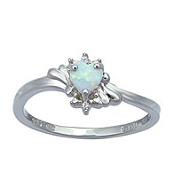 Precious Moments Sterling Silver Birthstone Collection Ring- Created Opal