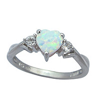 Precious Moments Sterling Silver Birthstone Collection Ring/Created Opal